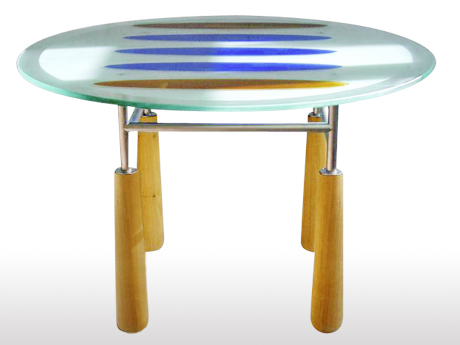 Table ronde en verre annick lecuyer design espace for Table ronde verre bois